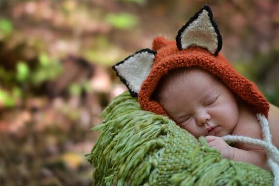 Fox Hat, Baby Hat, Baby Fox Bonnet, Fox Halloween Costume, Hat for Boys, Hat for Girls, Newborn Photo Prop, Baby Photo Prop, Knit Alpaca Hat