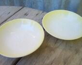 Vintage White Bowls, Set of 2 White Bowls with Yellow Edge
