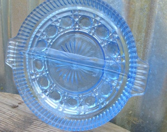 Vintage Blue Glass Plate, Blue Relish Dish, Divided Plate