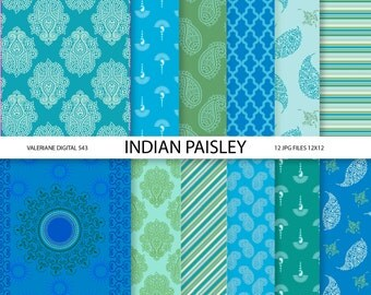 Paisley Digital paper pack in blue and green, digital backgrounds - 12 jpg files 12x12 - INSTANT DOWNLOAD  543
