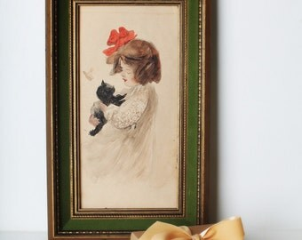 Vintage Original Watercolor Gouche  Framed Painting