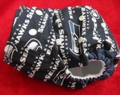 SassyCloth one size pocket diaper with Seattle Seahawks cotton print. Made to order.