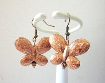 Butterfly Earrings Copper Dangle