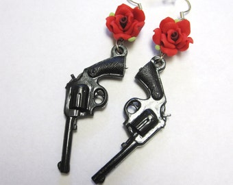Guns Roses Earrings Red Black Western 6 Shooter Jewelry