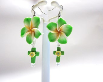Flower Earrings Cross Dangle Lime Green Hibiscus Yellow