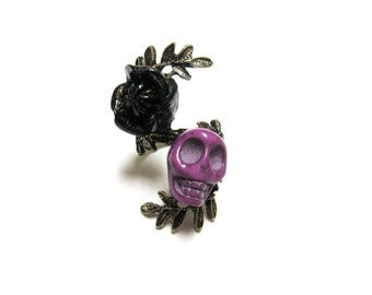 Purple Sugar Skull Ring Day of the Dead Jewelry Black Rose Ring