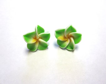 Green Hibiscus Flower Post Earrings