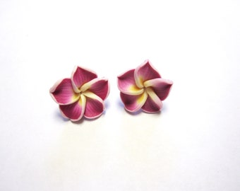 Fuschia Purple Flower Earrings Hibiscus Post