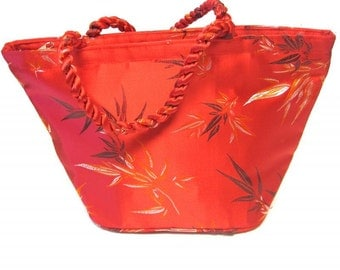 Red Purse Oriental Silk Handbag
