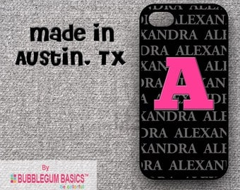 Custom Phone Case iPhone 6 5/5S 4/4S Samsung Galaxy S4 S5 - Name Retro Hot Pink - Monogrammed Personalized
