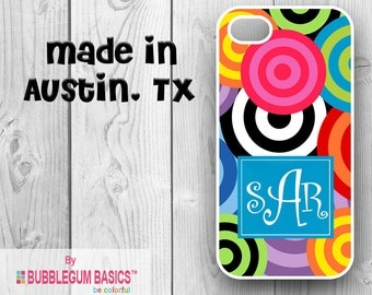 Custom Phone Case iPhone 6 5/5S 4/4S Samsung Galaxy S4 S5 - Funky Circles Bright Multi Color - Monogrammed Personalized