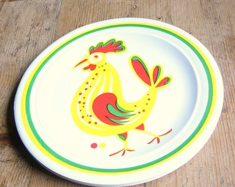 "Set of 12 Vintage 1960s Paper Plates Roosters 10.5"" Diameter"