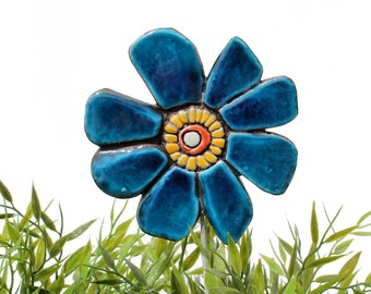 Flower garden art - plant stake - garden marker - garden decor - flower ornament - ceramic flower - buttercup - teal