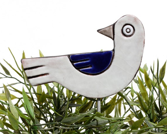 bird garden art - plant stake - garden marker - garden decor - bird ornament - ceramic bird - white & navy blue