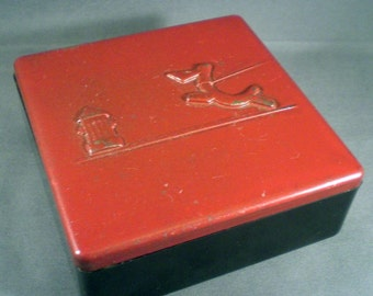 Vintage Mid Century 1950s Scotty Dog And Fire Hydrant Red Box Retro Desk Accessory Home Decor