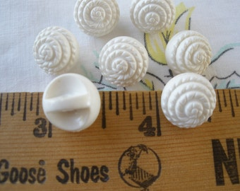 "Vintage white carved ball self shank buttons 1/2"" 20L 13MM Flower look 7 pieces reclaimed pre-owned sewing crafts paper tag supply shabby"