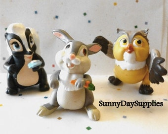 Vintage McDonalds Happy Meal Toys,  BAMBI Disney Toys,  Thumper, Flower and Friend Owl,  3 toys in Lot,  1988 Toys, CLEAN, Bambi toys