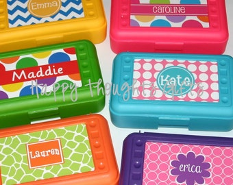 Personalized Pencil Crayon Box / Art Supply Case - Back to School