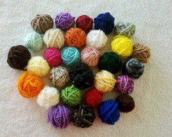 DESTASH YARN - 12 Yarn Balls for Small Projects, Flowers or Granny Squares - Each ball is 6+ Yards. Assorted Colors Only