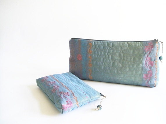 Aqua Blue Clutch and Coin Purse, Wedding Gift for Bride, Purse Organizer, Blue Evening Handbag