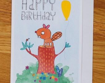birthday card, happy beaver with balloon