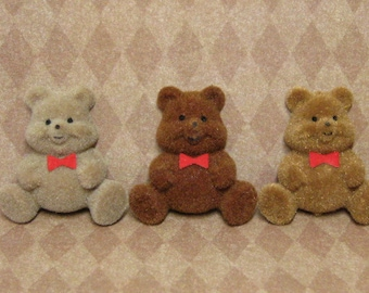 flocked miniature teddy bear cabochons 3pcs flat backed 40mm fuzzy kawaii 3D decoden your choice of colors mix n match