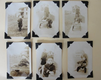 "Antique vintage sepia photo collection - six photos - 2"" x 3"" - 1930s - child and wagon"