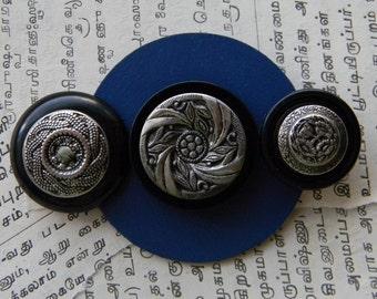 Art Brooch - 3 Silver Circles - Found Object Jewelry by Jen Hardwick