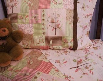 Girl owl nursery bedding toddler girl bedding owl crib sheet set 3 pc