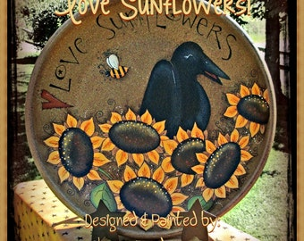 E PATTERN - Crows Love Sunflowers! Fun design for anytime - Designed & Painted by Sharon Bond - FAAP