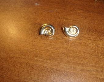 vintage clip on earrings goldtone swirls