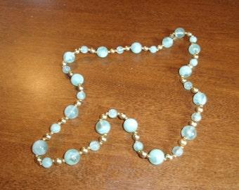 vintage necklace blue gold lucite beads