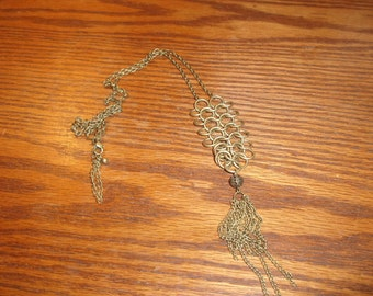 vintage necklace goldtone chain dangles