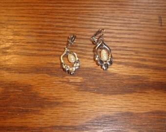 vintage clip on earrings silvertone faux pearls