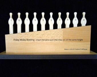 Holey Moley Premium Wood Brain Teaser Puzzle, 10 Bowling Pins