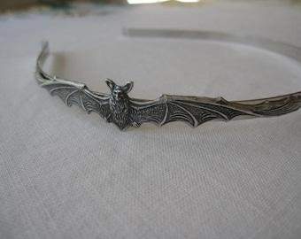 Bat Headband -Silver Bat on Silver Headband-Halloween-Gothic-Steampunk