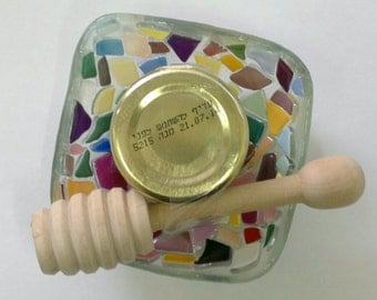 ROSH HASHANAH colorful bowl,honey&wooden honey dipper handemade by dalit glass