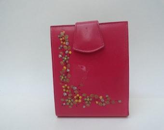 Vintage 1950's Pink Leather Wallet/ Retro Marioness Hand painted Pink Leather Wallet|Leather Pink Billfold Wallet Case