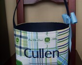 Fabric Easter Basket – John Deere Blue and Green Plaid - Personalization Included - Great Storage Bin
