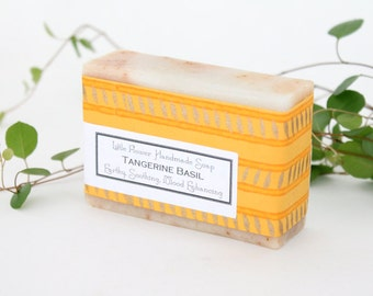 Natural Tangerine Basil Soap/  Handmade Soap /bath and beauty body / Gift Ideas For Her