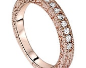 1/4CT Diamond Rose Gold Vintage Antique Hand Engraved Milgrain Style Wedding Anniversary Ring Womens Band 14 KT