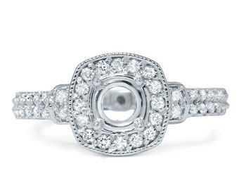 Vintage .45Ct Diamond Semi Mount Engagement Ring Setting Mounting 14 Karat White Gold Antique Cushion Halo