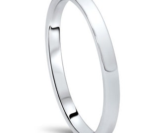 950 Platinum Wedding Band Womens 2MM Dome High Polished Plain Anniversary Ring Size (4-10)