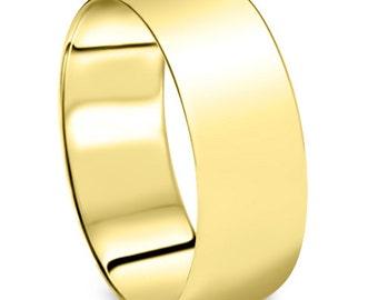Men's 10k Yellow Gold 8mm Dome Plain Wedding Band High Polish