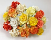 20 Handmade Mulberry Paper Flowers Mixed Sizes of Orange Yellow Carnation and Curly Roses
