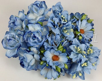 25 Sweet Baby Blue Boy Color Handmade Mulberry Paper Flowers Roses Daisy Lily Wedding  LYRD - 170