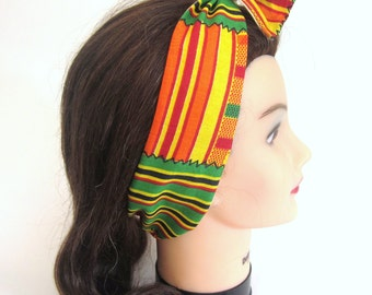 Jamaican Print and Cream colored Reversible 2 in 1 Tie up Headband