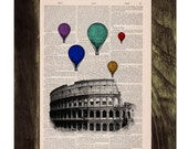 Multicolored balloons over Rome .Vintage Book Print - Rome Colosseum Balloon Ride Print on Vintage Book art BPTV035