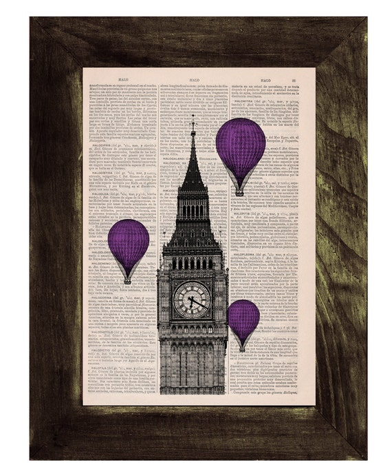 Christmas Sale Vintage Book Print - London Big Ben Tower Violet Balloon Ride Print on Vintage Book art BPTV011
