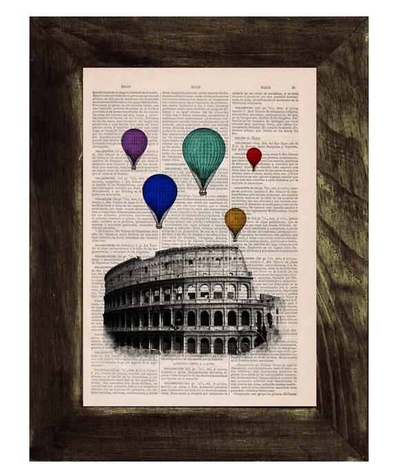 Christmas Sale Multicolored balloons over Rome .Vintage Book Print - Rome Colosseum Balloon Ride Print on Vintage Book art BPTV035
